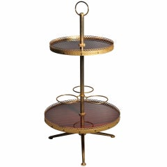Italian Aldo Tura two-tier Gilt bar cart Server Caddy with Tri-pod Base