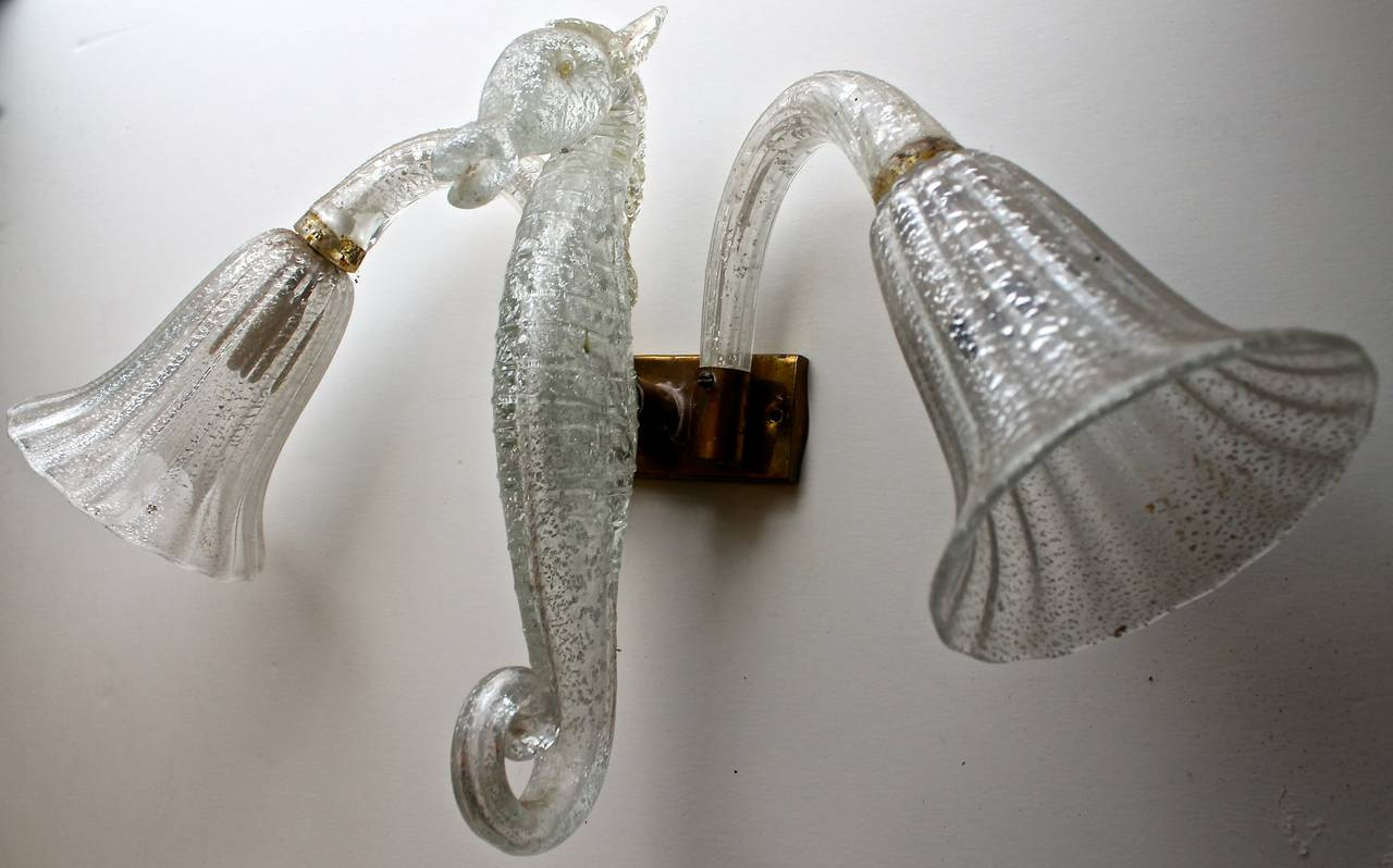Barovier and Toso Murano Glass Sea Horse Wall Sconce For Sale at 1stdibs