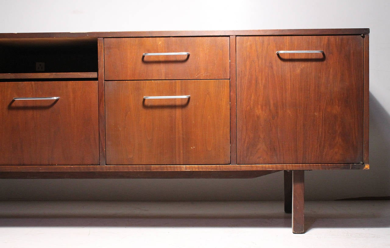 High Quality Vintage Sideboard Office Credenza Cabinet Attributed To Jens Risom.  Unmarked. Most Definitely A Risom