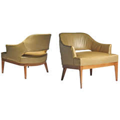 Pair of Swank Harvey Probber Low Lounge Chairs
