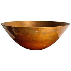 Ronald Hayes Pearson Signed Spun Brass Bowl, 1940s American Modernism