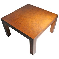 Milo Baughman Burl Olivewood Parsons Coffee Table