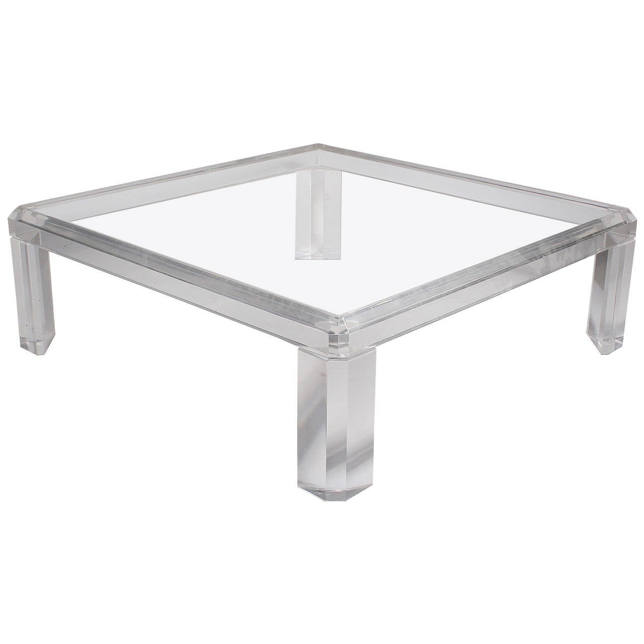 Karl Springer Style Square Lucite Coffee Table 1