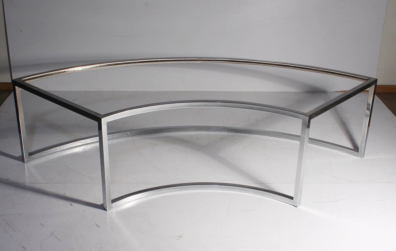vintage chrome curved coffee table attributed to milo baughman for Curved Coffee Table
