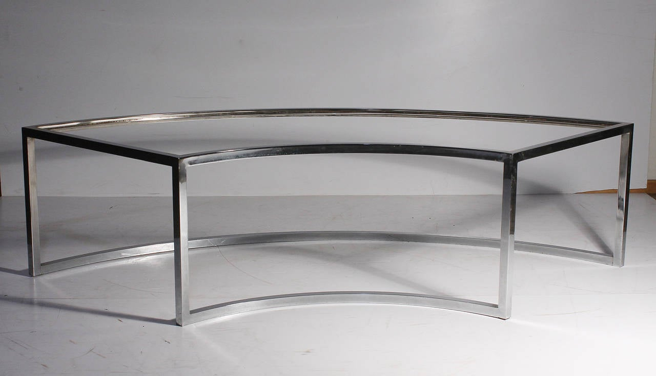 vintage chrome curved coffee table attributed to milo baughman for
