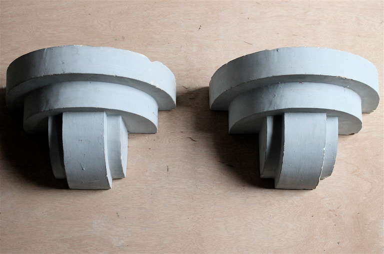 Plaster Cast Wall Lights : Art Deco Adnet Style Geometric Plaster Wall Sconces For Sale at 1stdibs