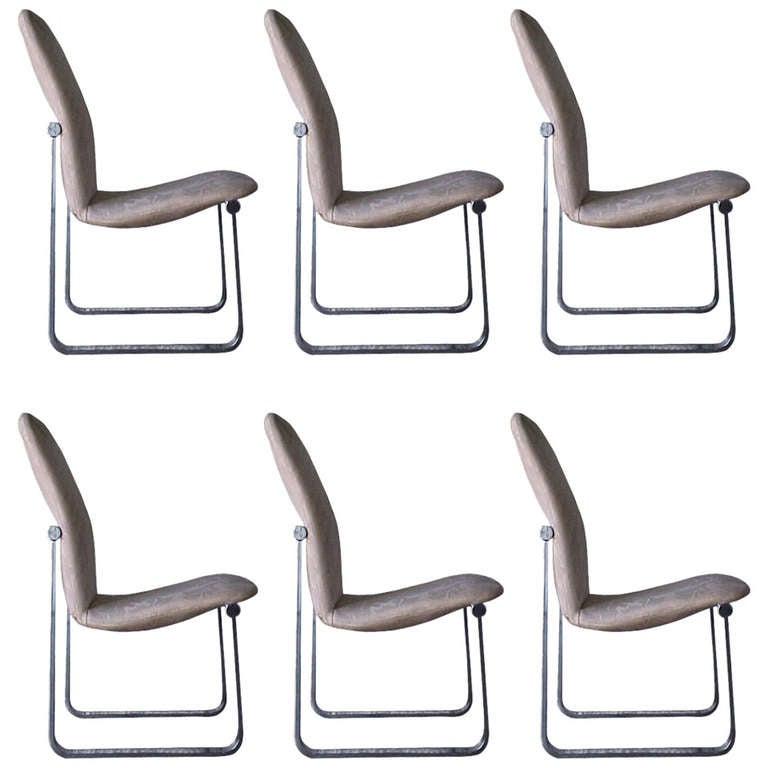 Set of 6 Milo Baughman Chrome Strap Dining Chairs