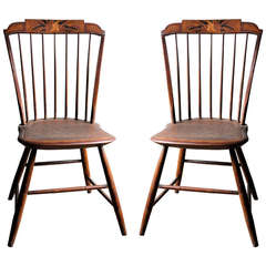 Pair of 1825 Rod-Back Step-Down Windsors Attributed to Daniel Stewart