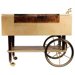 Aldo Tura Goatskin Drop-Leaf Serving Cart/Bar