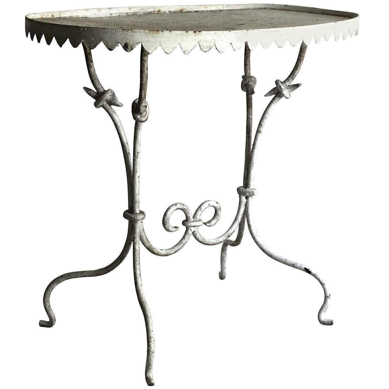 Wrought iron garden side table at 1stdibs for Wrought iron side table