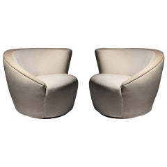 Pair of Vladimir Kagan Nautilus Swivel Chairs