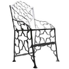 """Rare PETITE """"Cottage"""" Faux Bois Cast Iron Garden Chair by FISKE"""