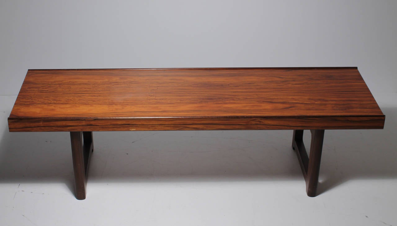 Danish Modern Bruksbo Short Rosewood Bench Coffee Table For Sale At 1stdibs