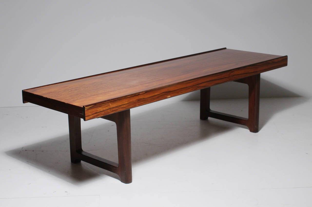 Norwegian Danish Modern Bruksbo Short Rosewood Bench Coffee Table For