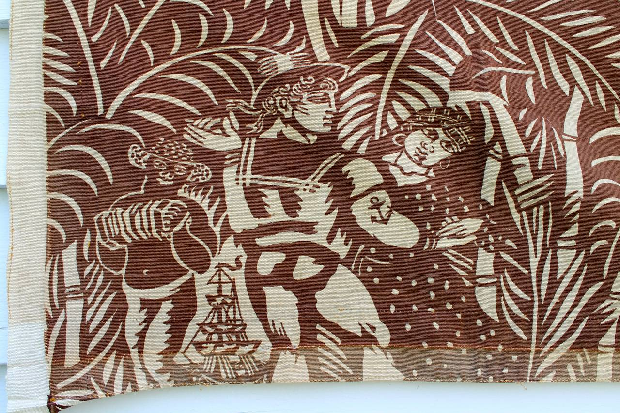 Three Panels by Raoul Dufy, 'La Danse' Printed Fabric for Paul Pioret In Good Condition For Sale In Chicago, IL