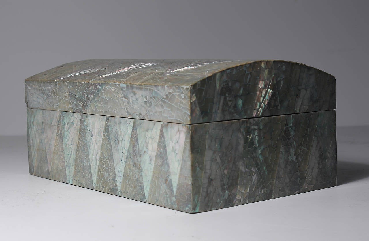 Pair of Vintage Crackled Abalone Jewelry Boxes For Sale at 1stdibs