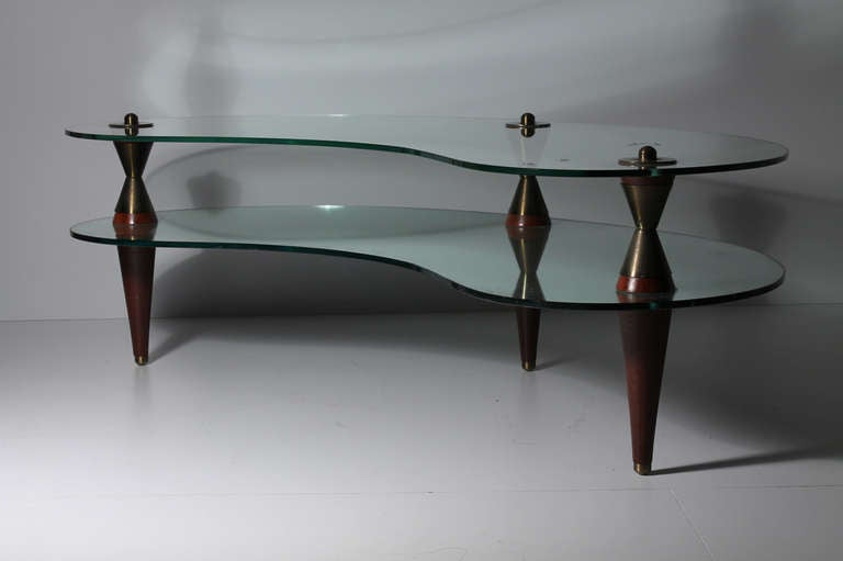 20th Century Italian Atomic Kidney Shaped Mirror U0026 Glass Coffee / End Tables  Suite For Sale