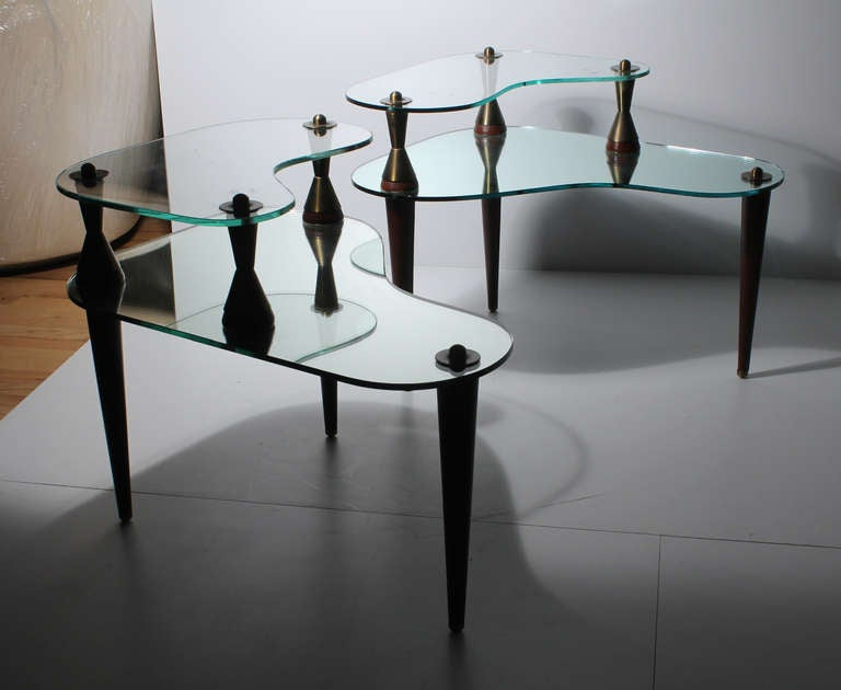 Italian Atomic Kidney Shaped Mirror And Glass Coffee End Tables