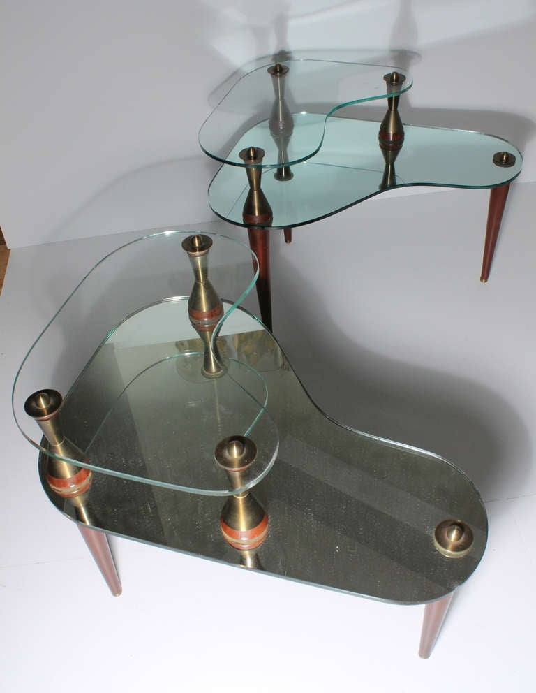 Italian Atomic Kidney Shaped Mirror And Glass Coffee End Tables Suite At 1stdibs