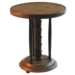 Austrian Secessionist Egyptian Revival Brass and Ebonized Wood Side Table