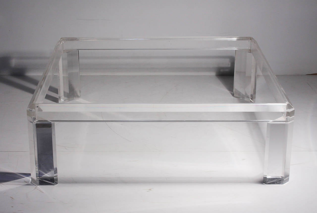 Karl Springer Style Square Lucite Coffee Table At 1stdibs