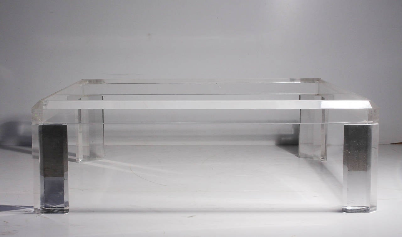 Design Lucite Coffee Table karl springer style square lucite coffee table at 1stdibs 3