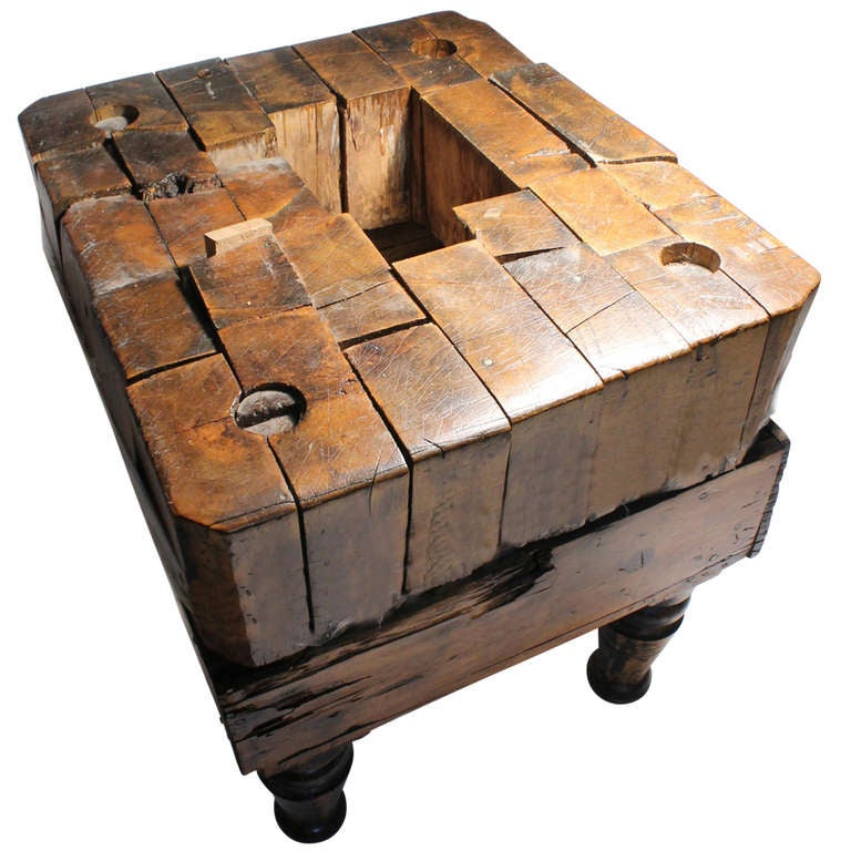 Early Wood Butchers Block Table At 1stdibs