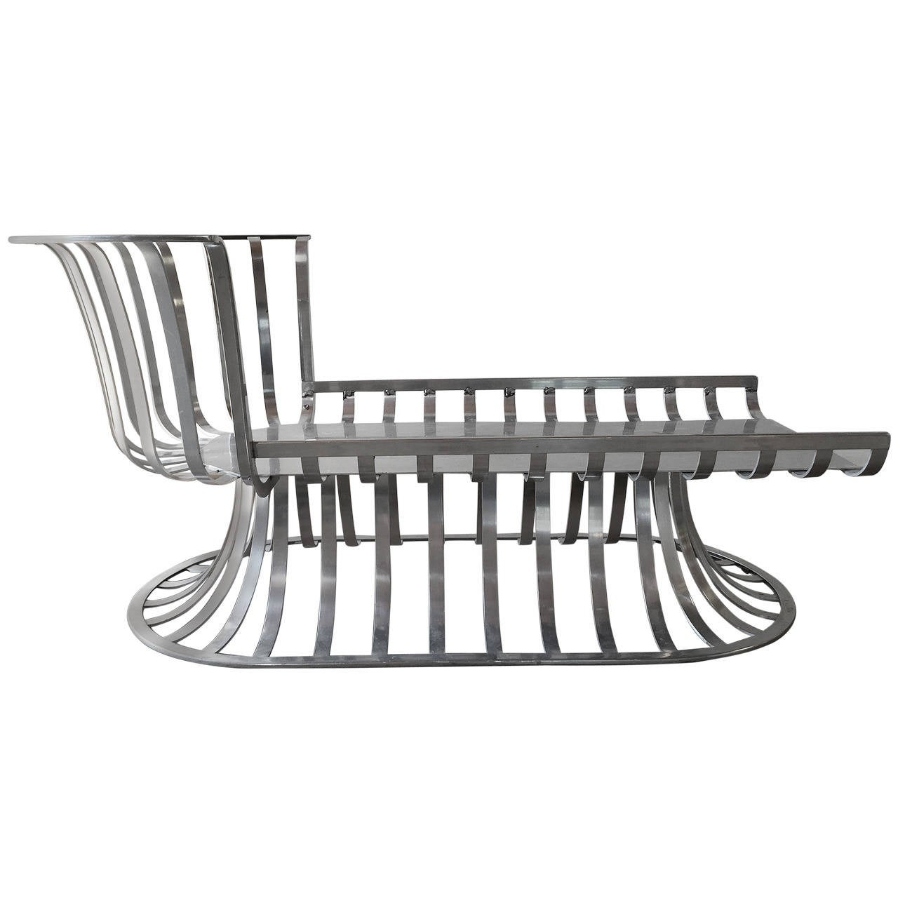 Russell woodard deco style aluminum outdoor patio chaise for Art deco style chaise lounge