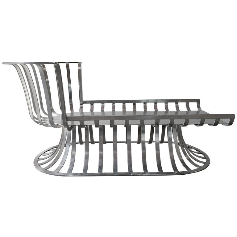 Russell Woodard Deco Style Aluminum Outdoor Patio Chaise Lounge For Sale