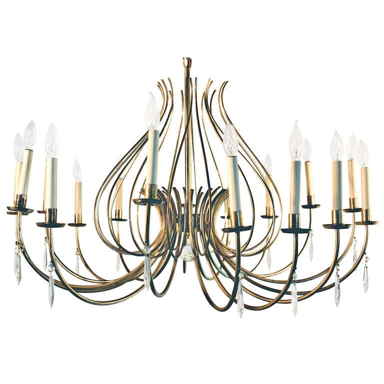 dorothy draper style midcentury american silver plate chandelier 1