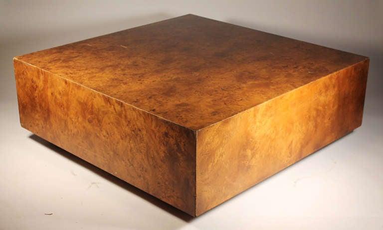Large Milo Baughman Burl Coffee Table On Castors 2