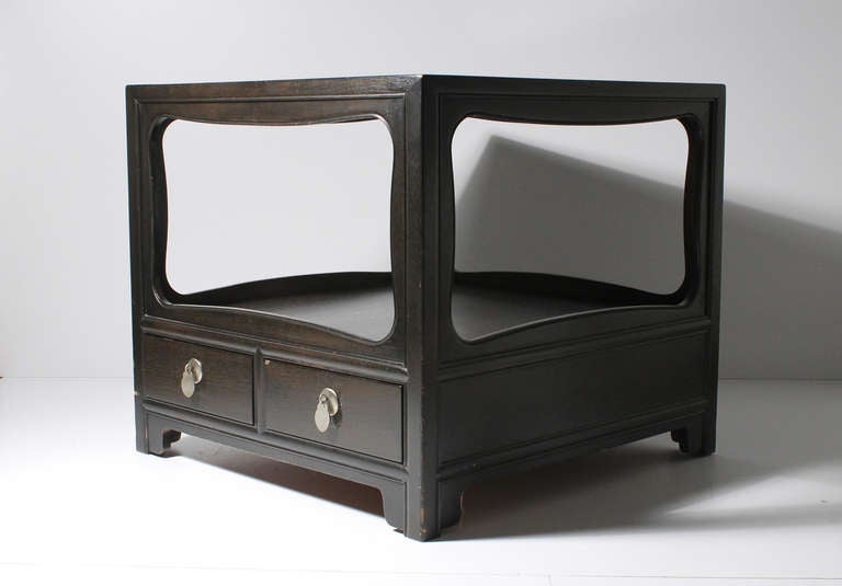 Pair of Michael Taylor Baker Asian Oriental End Tables Nightstands In Good Condition For Sale In Chicago, IL