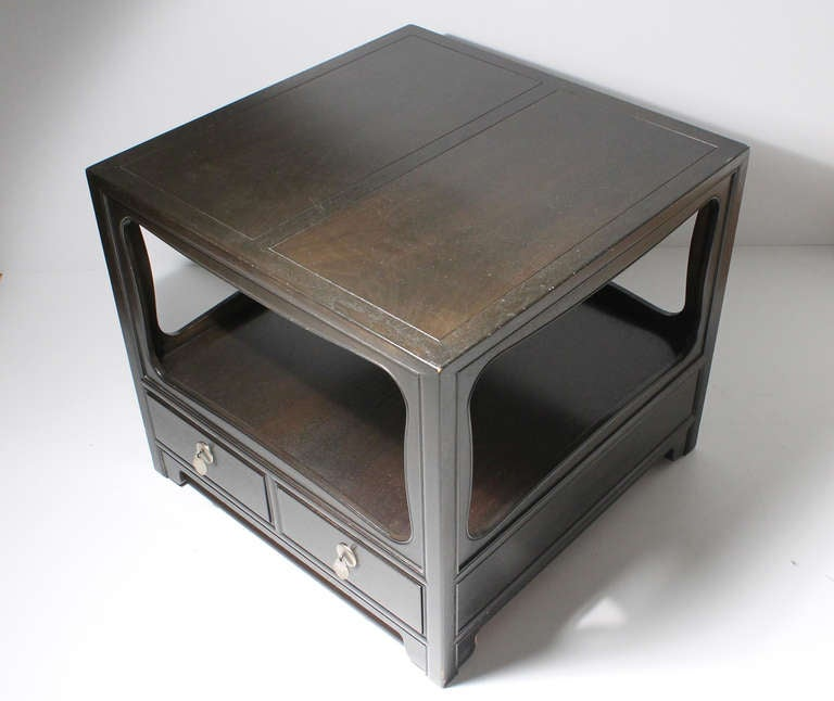 20th Century Pair of Michael Taylor Baker Asian Oriental End Tables Nightstands For Sale