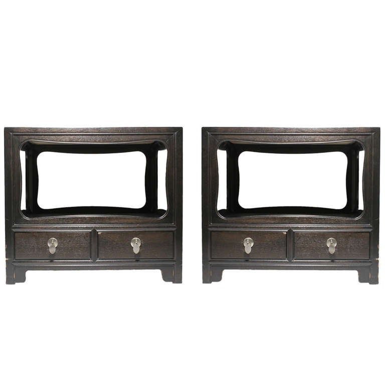 Pair of Michael Taylor Baker Asian Oriental End Tables Nightstands