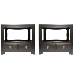 Pair of Michael Taylor for Baker Furniture Asian Oriental End Tables Nightstands