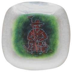 "Maurice Heaton ""Gardener"" Baked Enamel Glass Plate"