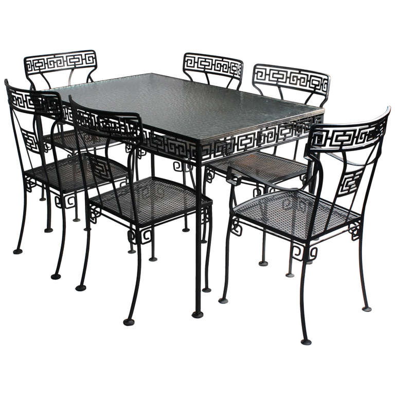 Etonnant Greek Key Patio Garden Neoclassical Dinette Set Style Salterini Parzinger  For Sale