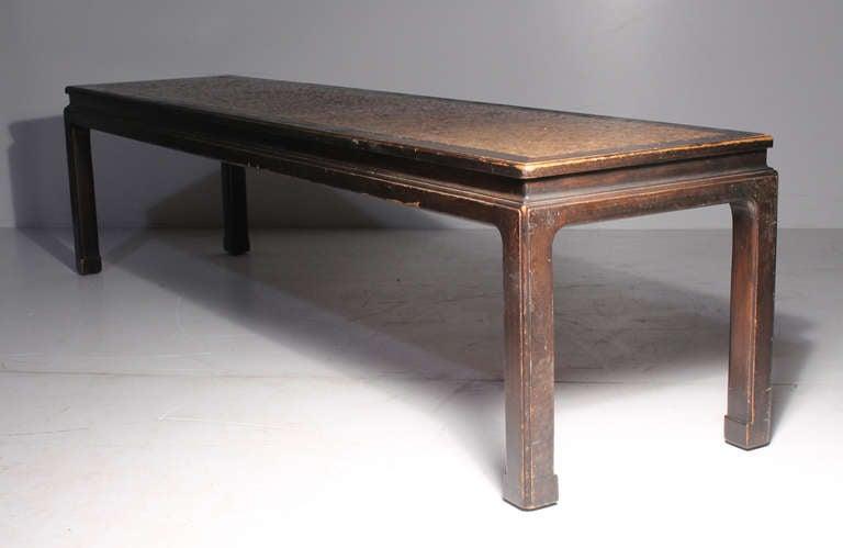 American Early Edward Wormley Dunbar Long Oriental Cork Coffee Table For Sale