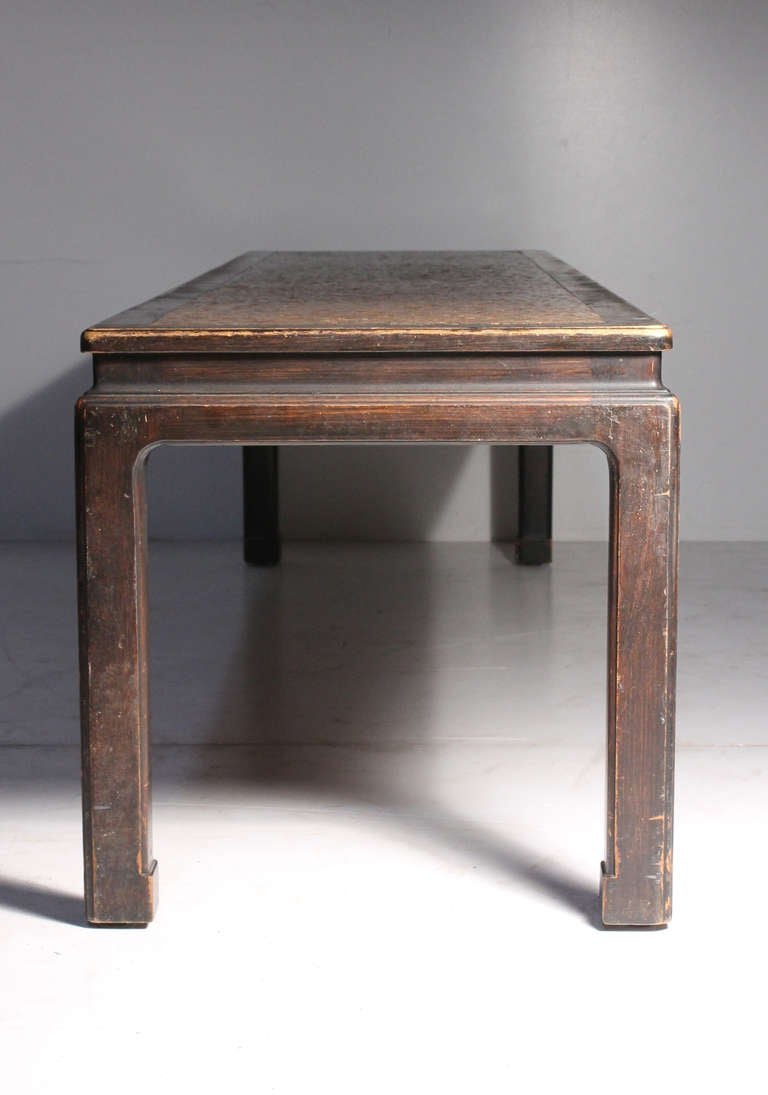 Early Edward Wormley Dunbar Long Oriental Cork Coffee Table In Good Condition For Sale In Chicago, IL