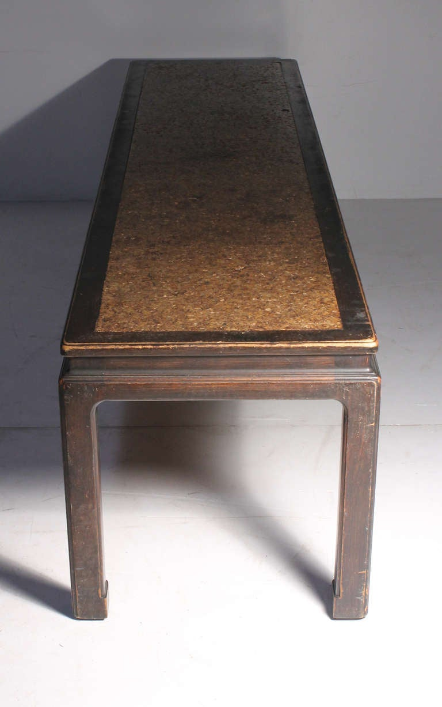 20th Century Early Edward Wormley Dunbar Long Oriental Cork Coffee Table For Sale