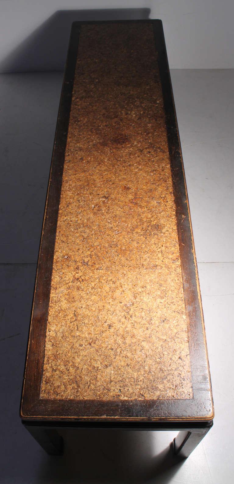 Early Edward Wormley Dunbar Long Oriental Cork Coffee Table For Sale 1