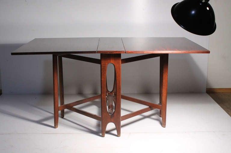 Danish Modern Rosewood Gate Leg Dinette Table Style Of Bruno - Mid century modern gateleg table