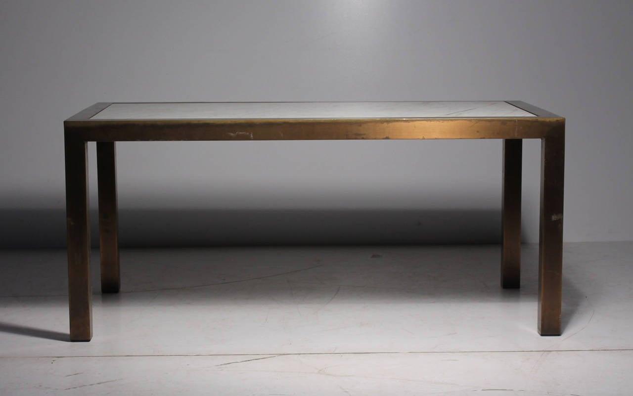 Vintage Parsons Brass Marble Brueton Coffee Table Style Jansen Milo
