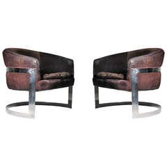 Vintage Milo Baughman Chromed Solid Bar Steel U-Form Lounge Club Chairs
