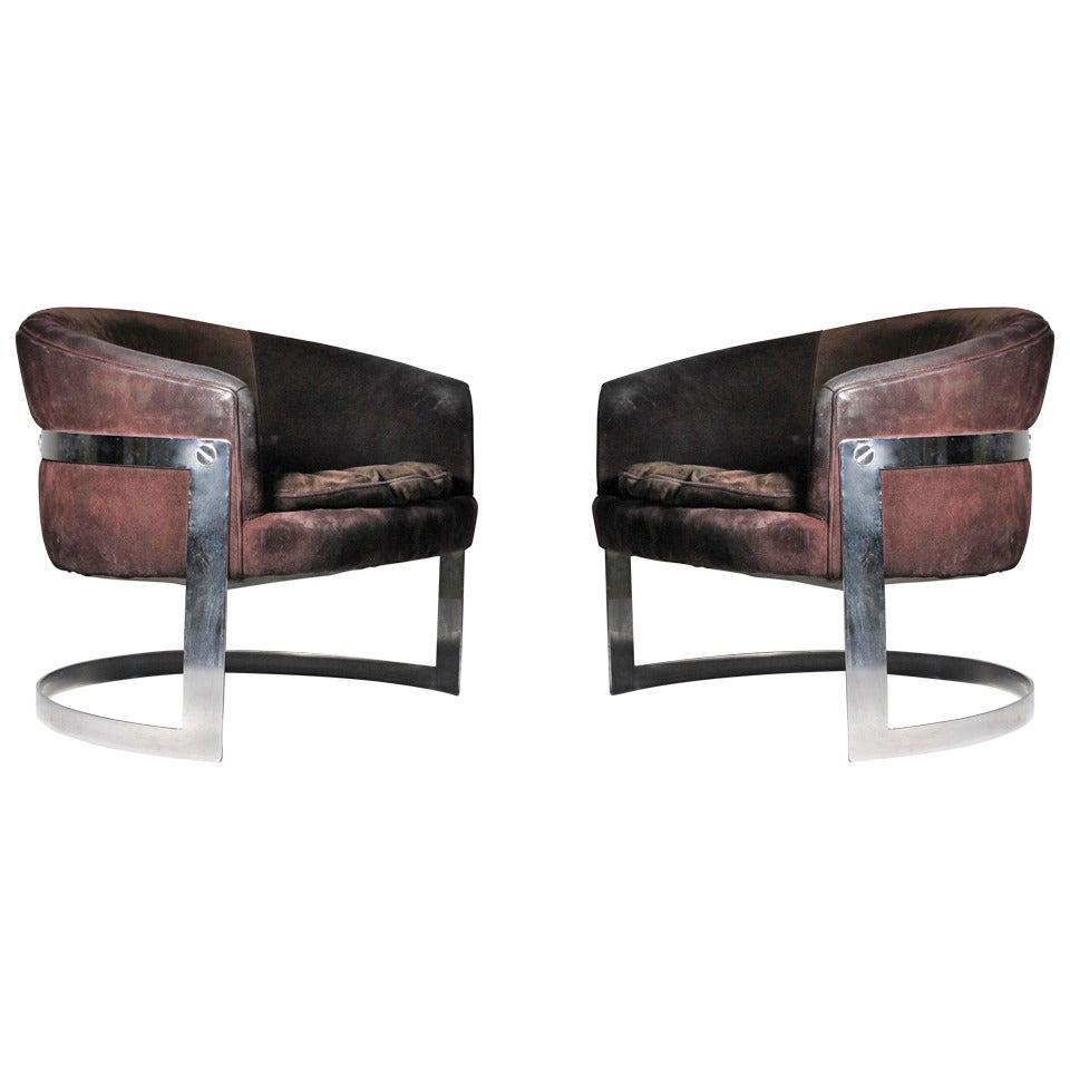 Vintage Chromed Solid Bar Steel U-Form Lounge Club Chairs