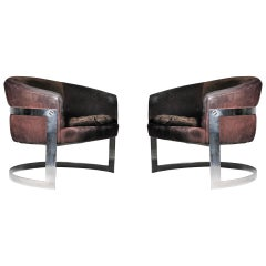 Vintage Chromed Solid Bar Steel U-Form Lounge Club Chairs