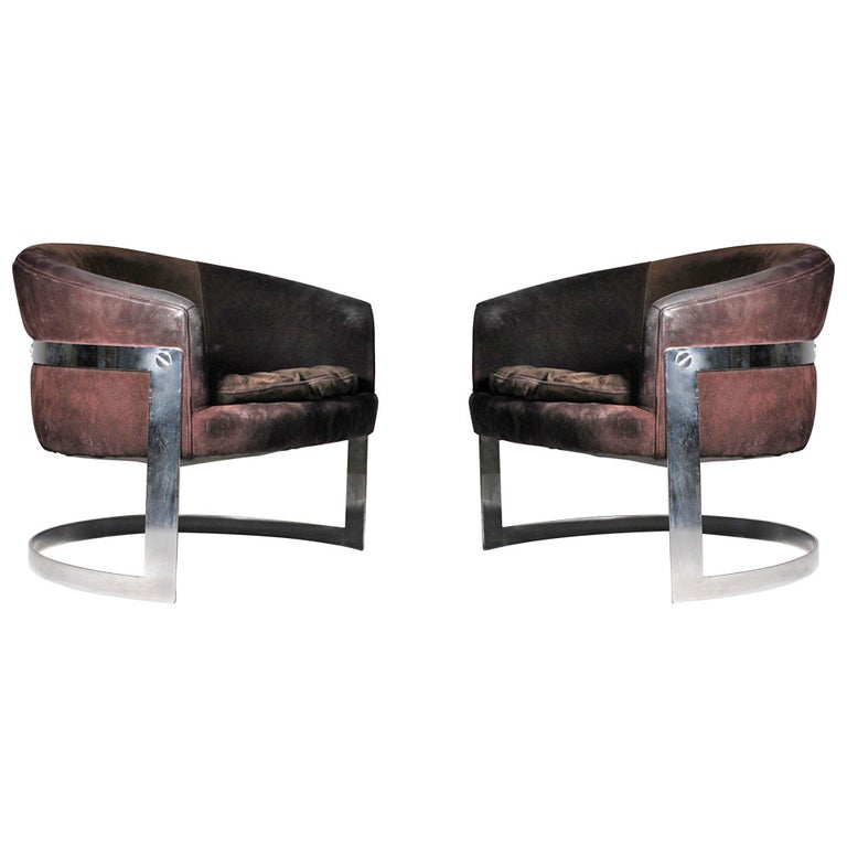 Vintage Chromed Solid Bar Steel U-Form Lounge Club Chairs For Sale