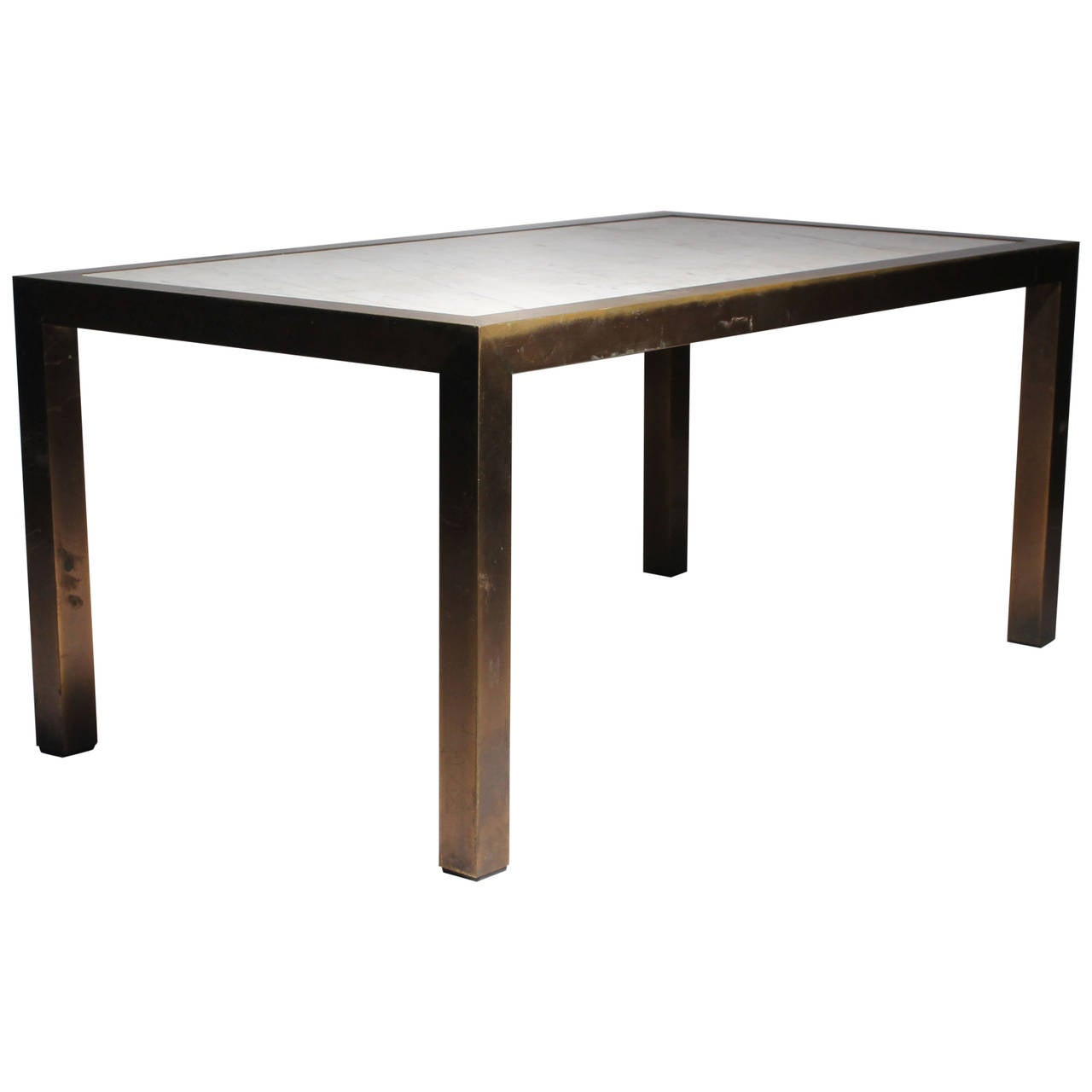 Vintage Parsons Brass Marble Brueton Coffee Table In Style Of Milo Baughman At 1stdibs