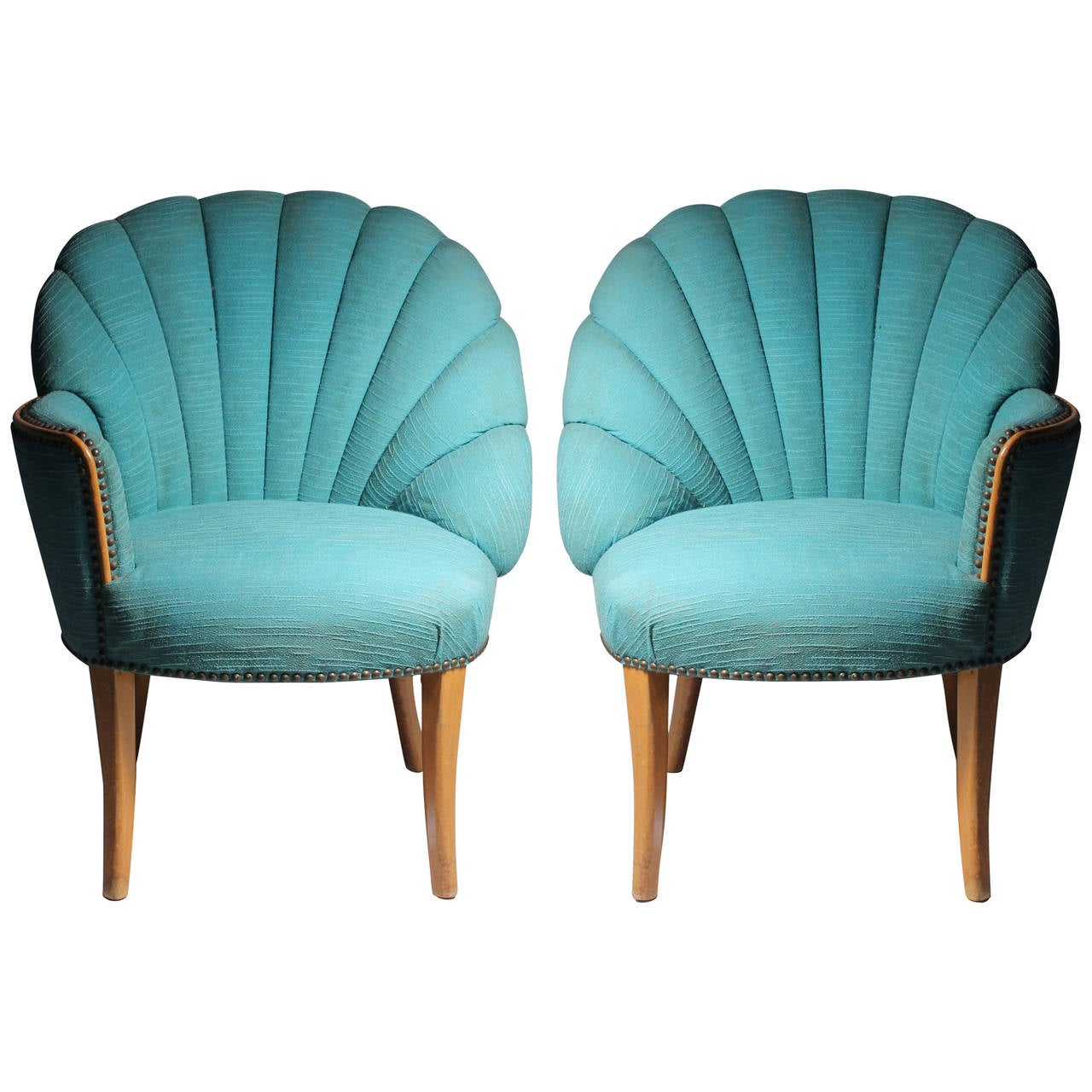 Delicieux Vintage Asymmetrical Hollywood Regency Fan Back Chairs   Grosfeld House For  Sale
