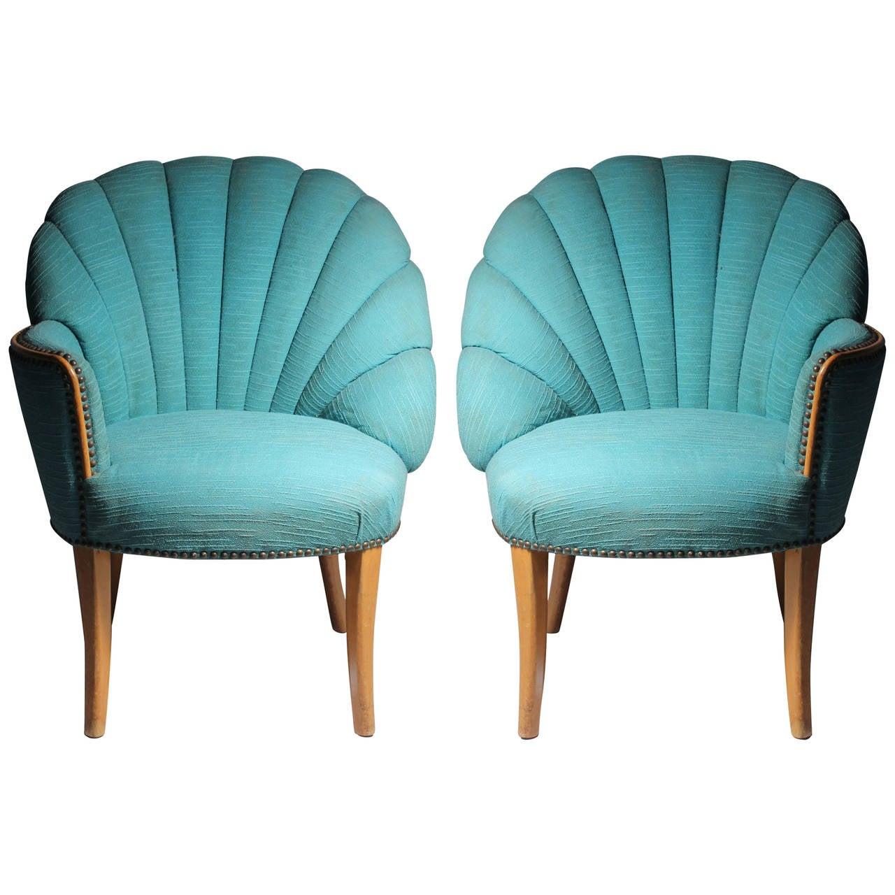 Vintage Asymmetrical Hollywood Regency Fan Back Chairs   Grosfeld House For  Sale
